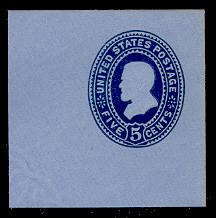 U333 5c Blue on Blue, die 1, Mint Full Corner, 50 x 50