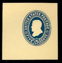U335 5c Blue on Amber, die 2, Mint Full Corner, 50 x 50