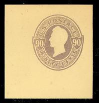 U343 90c Purple on Amber, Mint Cut Square, 44 x 48