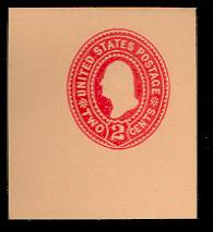 U360 2c Carmine on Oriental Buff, die 1, Mint Cut Sqare, 47 x 47