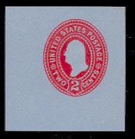 U361 2c Carmine on Blue, die 1, Mint Cut Square, 47 x 47