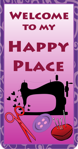 """Happy Place 30"""" x 40"""" banner. Made of quality vinyl for indoor use. Adhesive hangers included."""