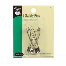 "Size 3 - 2"" Safety Pins.  Qty = 5."