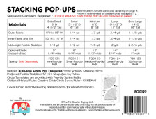 FQG122 Stacking Pop Up Pattern Instructions for sizes: XS, S, M, L & XL