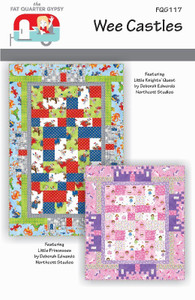 FQG117 Wee Castles Baby Quilt Kit  Fabrics match Little Knights on cover (primary color scheme). Exception - Gray inner border is slightly different fabric Backing - Flying Dragons