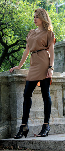 Camel color shirt dress (style#3000) worn together with Black Faux leather pant (style#5007B). Pant sold separately.