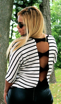Knit Dolman Sleeve Striped Top