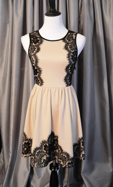 Taupe Sleeveless Knit Dress with Lace Detail