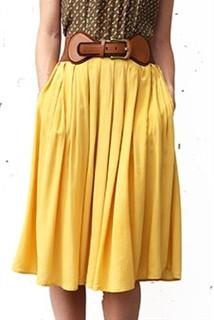 Pleated Full Midi Skirt - Mustard (Belt not included)