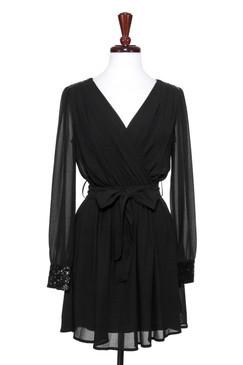 Black Long Sleeve Chiffon Wrap Dress