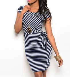 Navy/Gray Stripe Knit Dress