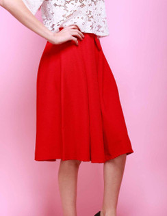 A-Line Midi Skirt -Red