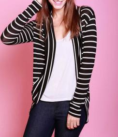 Striped Long Sleeve Cardigan - Black/White