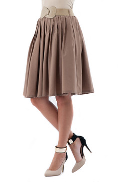 Pleated A-line Skirt with Belt- Taupe