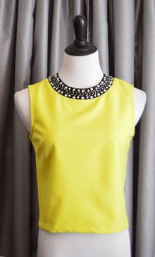 Jewel Neck Sleeveless Top - Yellow