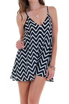 Black White Chevron Stripe Romper