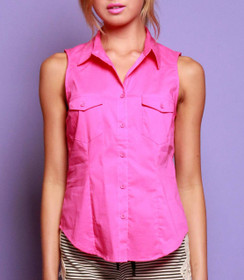 Collared Button Down Sleeveless Top
