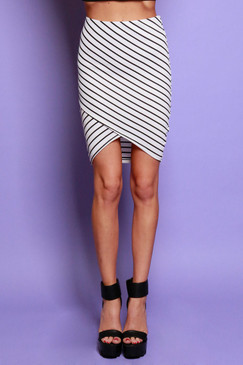 Tulip Front Striped Pencil Skirt -Ivory/Black
