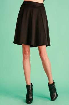 A-line midi skirt -Black