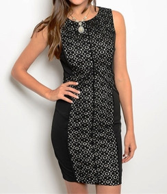 Lace Detail Dress - Black/Tan
