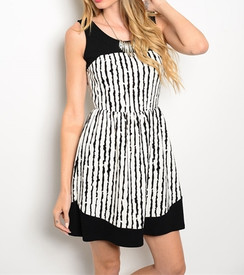 Fit and Flare White/Blk Dress