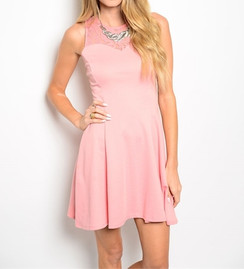 Pink Lace Detail Skater Dress