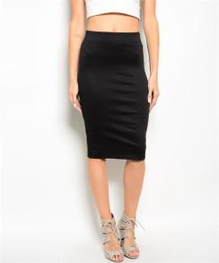 High Waisted Pencil Skirt - Black