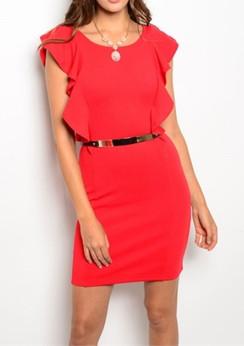 Beautiful Ruffle Sleeve Dress -Red