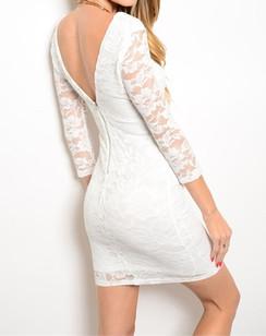 Lace Bodycon Dress - White