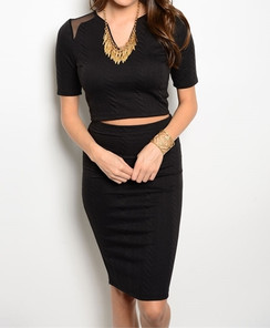 Black Top & Skirt Set