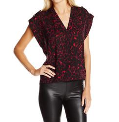 Leopard Print Crepe Kimono Style Blouse