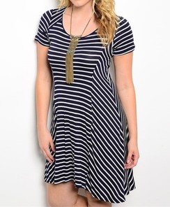 Navy/White Striped Print Stretch Knit Dress