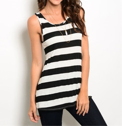 Black/White Stripe Tank