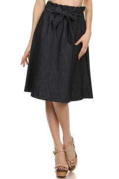 Denim High Waisted Midi Skirt- Dark Blue
