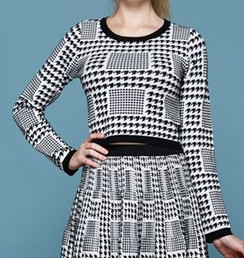 Houndstooth Crop Top Sweater- Black/White