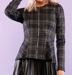 Plaid Peplum Jacket-Gray/Navy