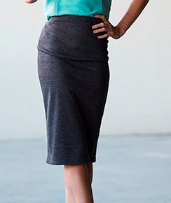 Gray Stretch Jersey Pencil Skirt