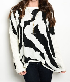 White/Black Zebra Pattern Sweater
