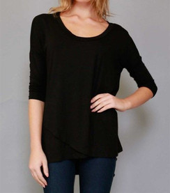 Asymmetrical Scoop Neck Top - Black