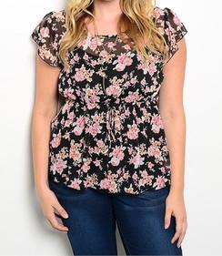 Floral Chiffon Top - Black/Pink