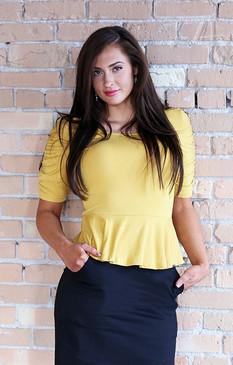 Soft Knit Peplum Top - Yellow