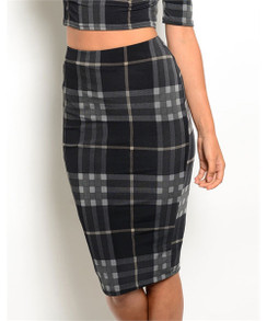 High Waisted Pencil Skirt - Black/Gray Plaid
