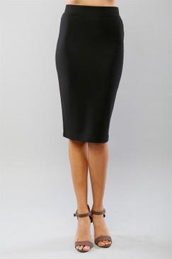 Black Solid Midi Pencil Skirt