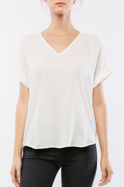 Cuffed Dolman Sleeve V-neck Top   White