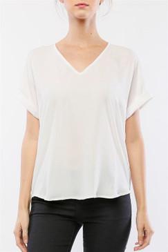 Cuffed Dolman Sleeve V-neck Top   White