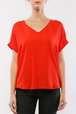 Cuffed Dolman Sleeve V-neck Top  Red