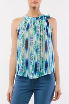 Blue/Green Sleeveless Flowy Top with Self Tie Neckline