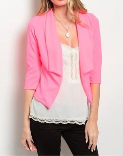 Open Front Shawl Collar Blazer - Pink