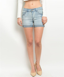 Mid Rise Stretch Short - Denim Wash