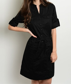 Black Button Front Shirt Dress